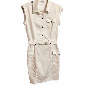 Calvin Klein White Safari Cargo Style Dress